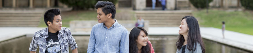 UWA students relax and chat in campus grounds