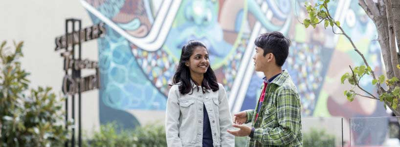 Students chat in front of Perth street art