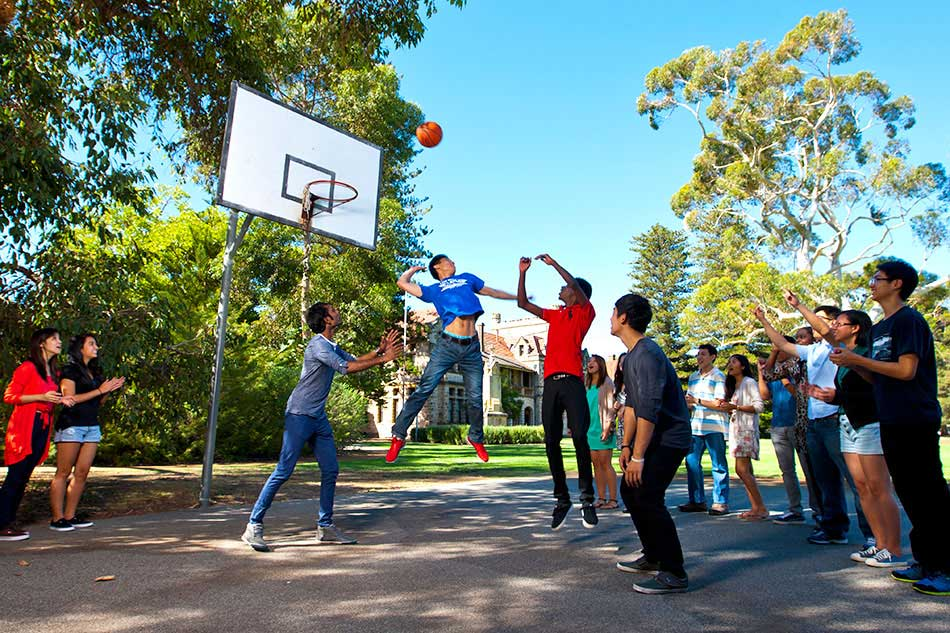 UWA students play basketball