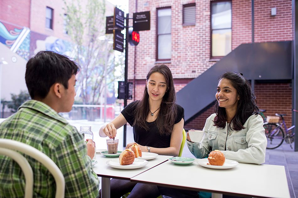 Students relax in a cafe in Perth