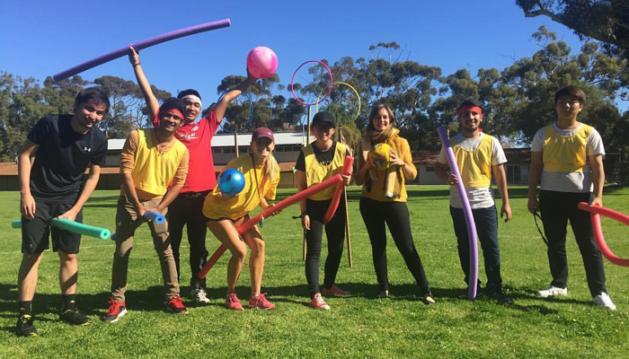 Students having fun outdoors on the UWA campus