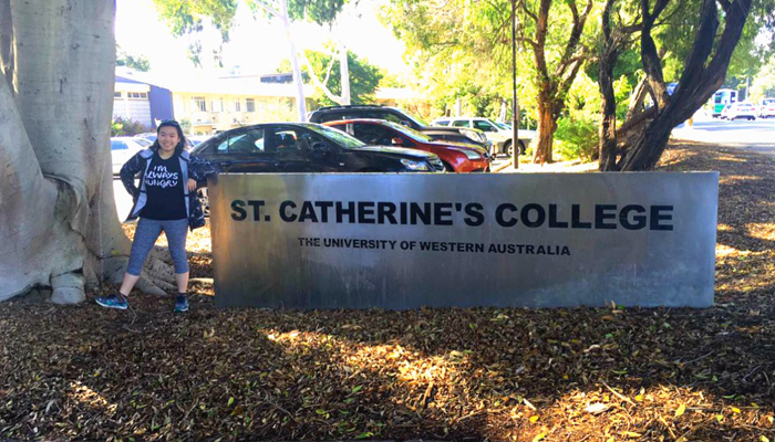 University of Western Australia's student at St. Catherine College dorm